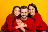 Close Up Photo Of Cheerful Cute Charming Nice Family Hugging Dad With Daughter And Mom Cheerful In R poster