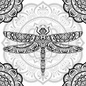 Dragonfly Decorated With Indian Ethnic Floral Vintage Pattern. Hand Drawn Decorative Insect In Doodl poster