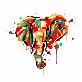 Elephant Color, Brush Strokes And Splashes, Elephant Face, Vector Illustration poster