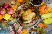 Thanksgiving Table Celebration Traditional Setting Food Or Christmas Table Decorated Many Different  poster