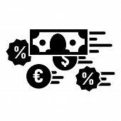 Money Percent Converter Icon. Simple Illustration Of Money Percent Converter Vector Icon For Web Des poster