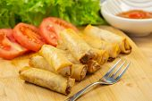 The Image Of Fried Spring Rolls With Vegetable Filling As A Snack Or As A Meal In Every Meal For A H poster