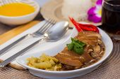 Pictured Thai Food Named Rice, Braised Pork Leg In Thai Sauce With Jasmine Rice, Is A Traditional Th poster