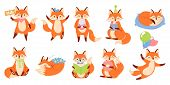 Cartoon Fox Mascot. Funny Animal Character, Cute Red Foxes With Black Paws. Foxy Mammal, Clever Fur  poster