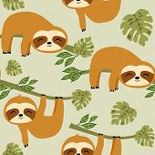 Cute Baby Sloth Seamless Pattern, Cute Animal Surface Pattern, Sloths Vector Repeat Pattern For Home poster