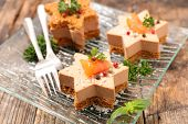 festive canape with foie gras and salmon poster