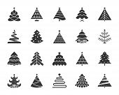 Christmas Tree Icons Set. Sign Kit Of Xmas Trendy. Spruce Stylized Pictogram Collection Includes Gar poster