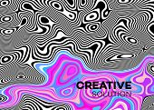 Modern Poster With 80 S Wave Pattern. Abstract Music Pulse Background. Trendy Modern Style. Rainbow  poster