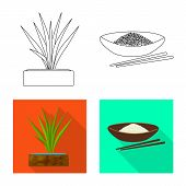 Vector Design Of Crop And Ecological Sign. Collection Of Crop And Cooking Stock Symbol For Web. poster