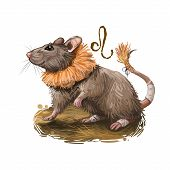 Leo Creative Digital Illustration Of Astrological Sign. Rat Or Mouse Symboll Of 2020 Year Signs In Z poster
