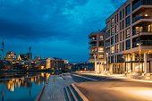 Oslo, Norway. Night View Embankment And Residential Multi-storey House On Sorengkaia Street In Gamle poster