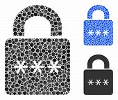 Digital Lock Composition For Digital Lock Icon Of Spheric Dots In Variable Sizes And Shades. Vector  poster