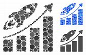 Business Growth Mosaic For Business Growth Icon Of Spheric Dots In Variable Sizes And Color Hues. Ve poster