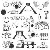 Bowling Sport Isolated Item Icons. Vector Ninepins, Trophy Cups And Alleys, Ten-pins And Winged Ball poster