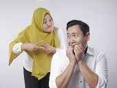 Portrait Of Funny Asian Muslim Couple Having Conflict, Wife And Husband Fight, Violence In Family, H poster