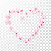 Pink Sakura Petals Confetti Flying And Falling On Transparent Background. Springtime Symbols. Pastel poster