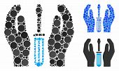 Tuning Screwdriver Care Hands Composition For Tuning Screwdriver Care Hands Icon Of Round Dots In Di poster