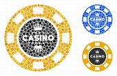 Royal Casino Chip Mosaic For Royal Casino Chip Icon Of Spheric Dots In Different Sizes And Color Tin poster