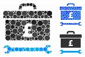 Pound Toolbox Mosaic For Pound Toolbox Icon Of Round Dots In Different Sizes And Color Tinges. Vecto poster