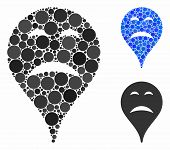 Sadness Smiley Map Marker Mosaic For Sadness Smiley Map Marker Icon Of Small Circles In Various Size poster