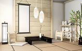 Zen Room Interior Wooden Wall On Tatami Mat Floor With Poster Frame, Low Table And Armchair.3D Rende poster