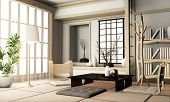 Ryokan Living Room Japanese Style With Tatami Mat Floor And Decoration.3D Rendering poster