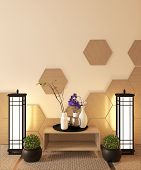 Japanese Ryokan, Living Room Zen Style With Hexagon Tile On Wall And Tatami Mat Floor, Decoration Ja poster