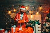 Christmas Santa Wishes Merry Christmas. Man New Years Eve. New Year Party. Santa Claus Wishes Merry  poster