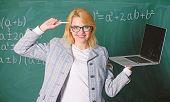 Idea On Her Mind. Digital Technologies Concept. Woman Teacher Wear Eyeglasses Holds Laptop Surfing I poster
