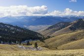 A Beautiful View Of Mountain Range From The Top Of The National Elk And Bison Range Near St Ignatius poster