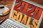 2020 goals banner - New Year resolution concept -  text in vintage letterpress wood type printing bl poster