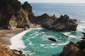 Mcway Falls In Julia Pfeiffer State Park On Coast Of Big Sur On Monterey Coast Of California. poster