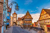 Classic view of picturesque Plonlein (Little Square) in Rothenburg ob der Tauber, Bavaria, Germany.  poster