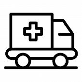 Emergency Truck Icon. Outline Emergency Truck Vector Icon For Web Design Isolated On White Backgroun poster