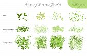 Set Of Summer Vector Foliage Ecology Brushes - Silhouettes Of Summer Leaves, Foliage Of Trees, Diffe poster