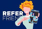 Refer A Friend - Referral Program Concept. Woman Manager Holding Smartphone And Shows To Her Friends poster