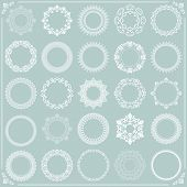 Vintage Set Of Vector Round White Elements. Different Elements For Design Frames, Cards, Menus, Back poster