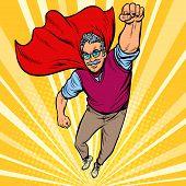 Man Retired Superhero. Health And Longevity Of Older People. Pop Art Retro Vector Illustration Drawi poster