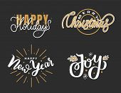 Happy Holidays, Merry Christmas, Joys Lettering Hand Drawn Doodle Text. Xmas Typography Font For Gre poster