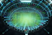 Aerial Top Angle View Of Imaginary Soccer Stadium With Illumination . 3d Rendering . poster