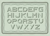 Money Font, Dollar Latin Alphabet, Sans Serif In Vintage Style. Abc Uppercase Letters On Green Bill  poster