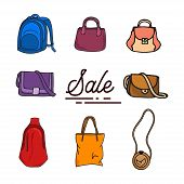 Vector Design Collection Of Bags For Men And Women Isolated White Background. Fashionable Hand Bag I poster