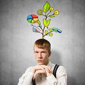 Serious Student With Arms Touching His Chin And Thinking About Something. Redhead Boy With Drawing I poster