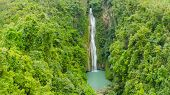 Waterfall In The Rainforest Jungle From Above. Tropical Mantayupan Falls In Mountain Jungle. Philipp poster
