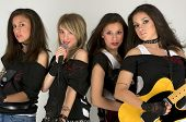 image of rock star  - Rock band with beautiful make up and guitars - JPG