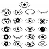 Set Of Outline Eye Icons. Open And Closed Thin Line Eyes, Sleeping Eye Shapes With Eyelash, Supervis poster