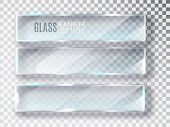 Glass Transparent Banners Set. Vector Glass Plates With A Place For Inscriptions Isolated On Transpa poster