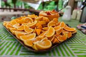 A Close Up View Of Freshly Chopped Orange Fruit Segments On A Dish In A Campsite Dedicated To Health poster