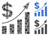 Dollar Bar Chart Trend Composition Of Round Dots In Various Sizes And Color Tints, Based On Dollar B poster