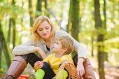 Happy Childhood. Mom And Kid Boy Relaxing While Hiking Forest. Family Picnic. Mother Pretty Woman An poster